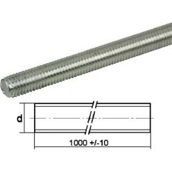 Galvanized steel threaded rod 4.6 DIN 975 Ø10x1000mm