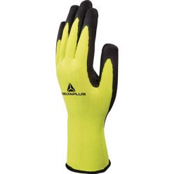 Polyester knit glove - palm coated latex foam T.8 pair