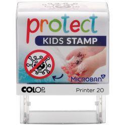 Colop Printer 20 Microban, Protect Kids stamp, cachet qui aide les enfants de laver les mains