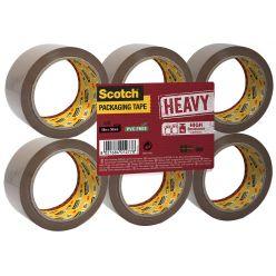 Scotch ruban d'emballage Heavy, ft 50 mm x 66 m, brun, paquet de 6 pièces