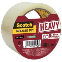 Scotch ruban d'emballage Heavy, ft 50 mm x 50 m, transparent, emballé individuel