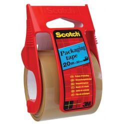 Scotch dérouleur avec ruban adhésif d'emballage, ft 50 mm x 20 m, brun