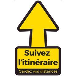 Autocollant, texte: Suivez l itinéraire - Gardez vos distances, flèche, ft 30 x 30 cm