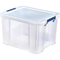 Bankers Box boîte de rangement 36 litres, transparent avec poignées bleues, set de 3 pcs emb en carton