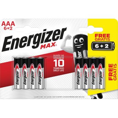 Energizer piles Max AAA, blister de 6+2 gratuites
