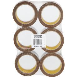 Scotch ruban d'emballage silencieux, ft 50 mm x 66 m, brun, paquet de 6 rouleaux