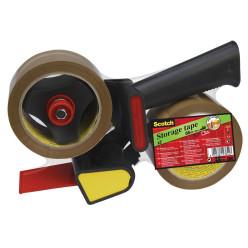Scotch dérouleur H180 avec 2 rouleaux de ruban adhésif d'emballage, ft 50 mm x 66 m, PP, brun