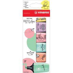 STABILO BOSS MINI Pastellove surligneur, boîte de 6 pièces en couleurs pastels assorties