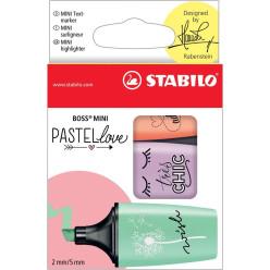 STABILO BOSS MINI Pastellove surligneur, boîte de 3 pièces en couleurs pastels assorties
