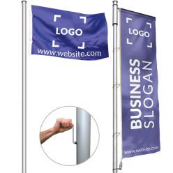 Flagpole with crank handle